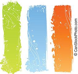 grungy, bandeiras, três, multicolored