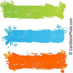 grungy, borboleta, bandeiras, multicolored