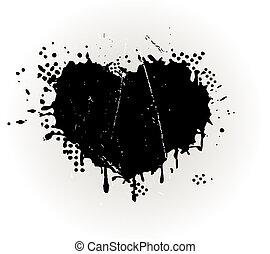 grungy, coração amoldou, splat, tinta