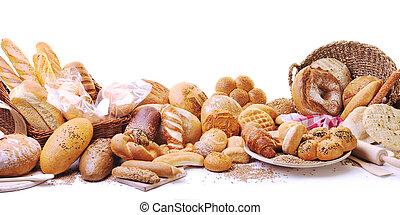 grupo, alimento, pão fresco