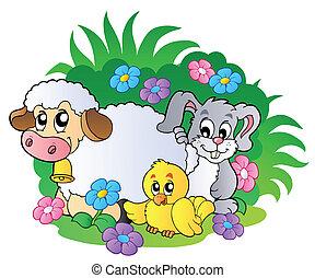 grupo, animais, primavera