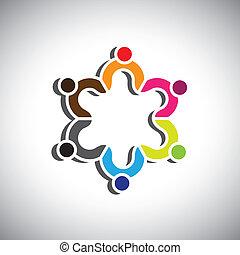 grupo, coloridos, pessoas, ou, símbolos, desenho, crianças