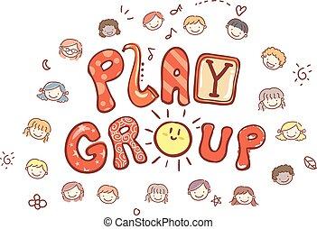 grupo, crianças, stickman, jogo, ilustração