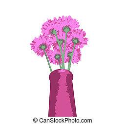 grupo, flores, vaso