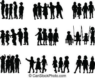 grupo grande, crianças