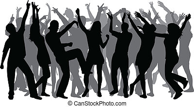 grupo grande, disco-dancing, pessoas