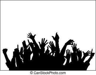 grupo grande, levantamento, mãos