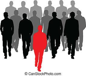 grupo, homens, -, grande, vetorial, gráficos, líder