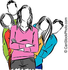 grupo, ilustração, pessoas