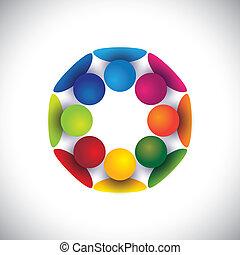 grupo, pessoas, crianças, comunidade, ou, vetorial, círculo, tocando