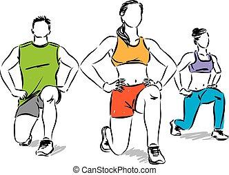 grupo, pessoas, esticar, ilustração, vetorial, condicão física