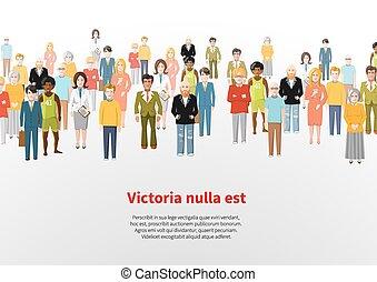grupo, pessoas, grande, vetorial, fundo, caricatura