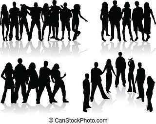 grupo, pessoas, -, ilustração, grande, silhuetas, vetorial