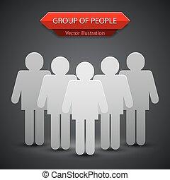 grupo, pessoas, ilustração, vetorial, fundo, leader.