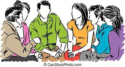 grupo, pessoas, ilustração, vetorial, junto, falando