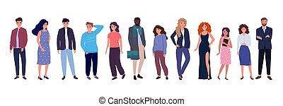 grupo, pessoas, jovem