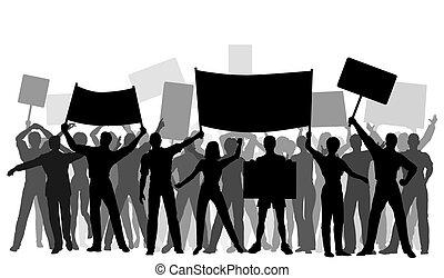 grupo, protester