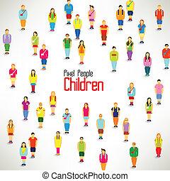 grupo, recolher, grande, vetorial, desenho, crianças