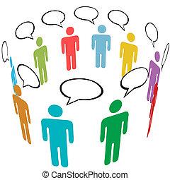grupo, rede, pessoas, mídia, símbolo, cores, social, conversa