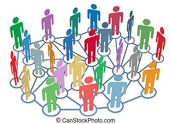 grupo, rede, pessoas, mídia, social, muitos, conversa