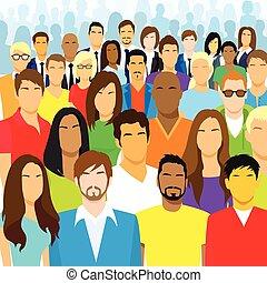 grupo, torcida, pessoas, grande, rosto, diverso, casual