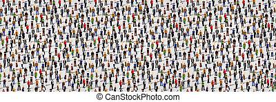 grupo, torcida, pessoas., seamless, grande, fundo