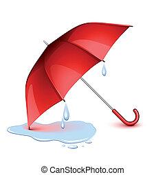 guarda-chuva, molhados