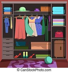 guarda-roupa, moda, clothes., sala, armário
