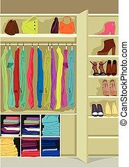 guarda-roupa, panos, cheio, sala, mulher