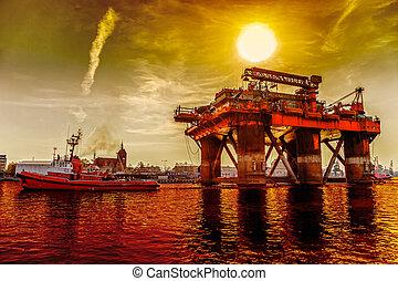 guarneça, óleo, reboque