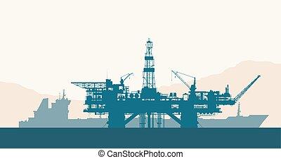 guarneça, petroleiro, óleo perfura, mar