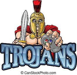 guerreira, trojan, spartan, controlador, gamer, mascote