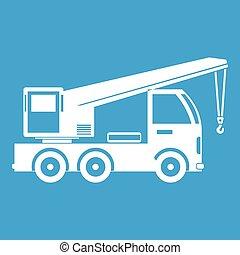 guindaste, montado, caminhão, branca, ícone