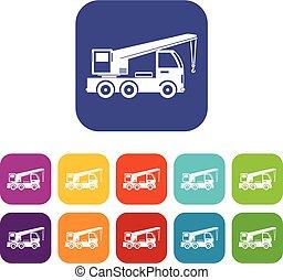 guindaste, montado, caminhão, jogo, ícones