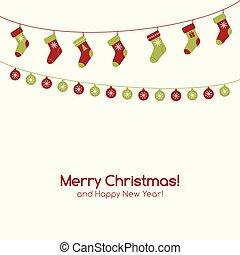 guirlandas, cartão natal, saudação