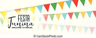 guirlandas, junina, bandeira, coloridos, festa