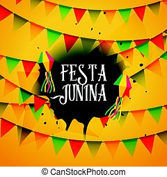 guirlandas, junina, fundo, coloridos, festa