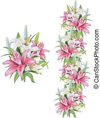 guirlandas, lírios, flores