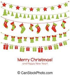 guirlandas, natal, cartão cumprimento, festivo