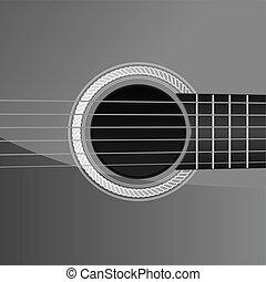 guitarra, acústico, detalhe