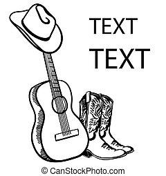 guitarra, boots., desenhado, chapéu, branca, gráfico, ilustração, boiadeiro, music., texto, acústico, país, vetorial, isolado, mão