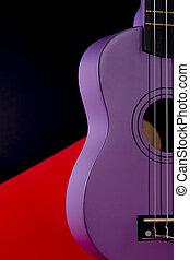 guitarra, experiência vermelha, pretas, ukulele, fragmento, four-string