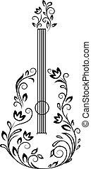 guitarra, floral, detalhes