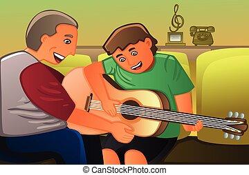 guitarra, seu, pai, tocando, filho