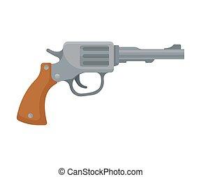 gun., antigas, ilustração, experiência., vetorial, branca