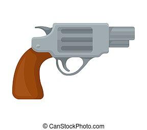 gun., pequeno, ilustração, experiência., vetorial, branca