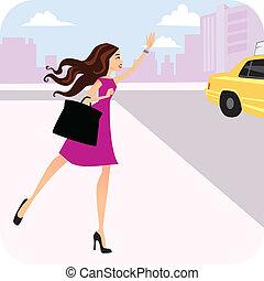 hails, táxi, mulher, táxi