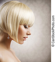 haircut., penteado, menina, hair., saudável, loura, shortinho, bonito