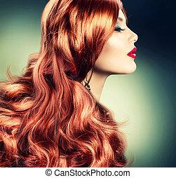 haired, menina, moda, vermelho, retrato