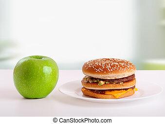 hamburger, insalubre, dieta saudável, alimento., verde, escolha, concept:, maçã